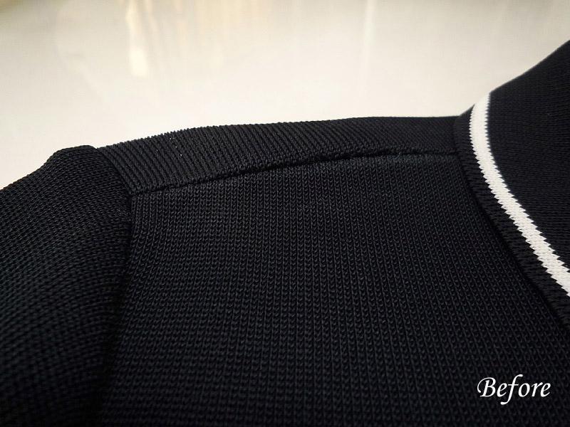 ポロシャツ肩スレの色修正