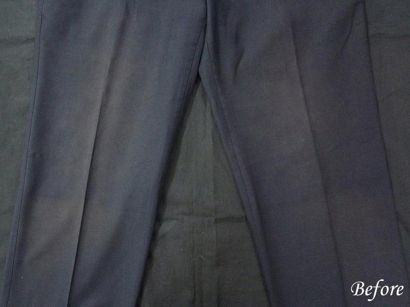 ズボン汗による変色の色修正