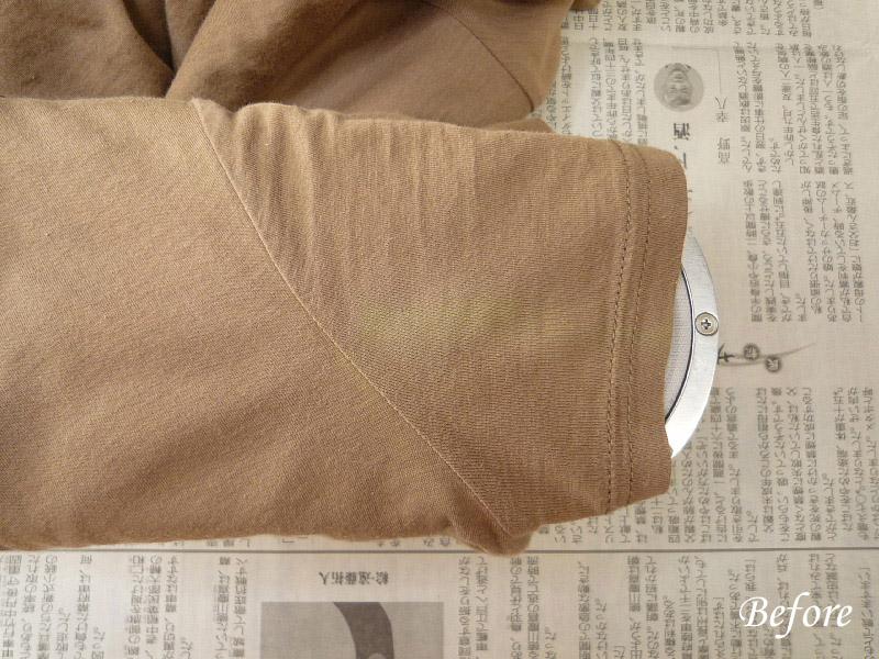 汗脇ワンピース脱色の色修正