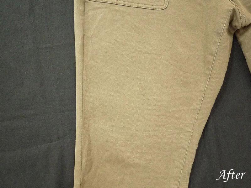 カビハイターで変色したズボンの色修正