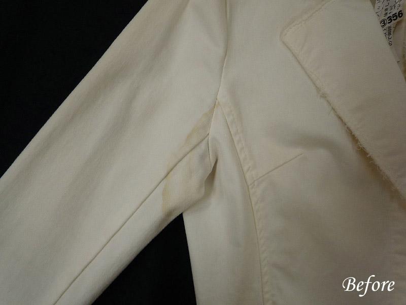綿ジャケット脇黄変の染み抜き
