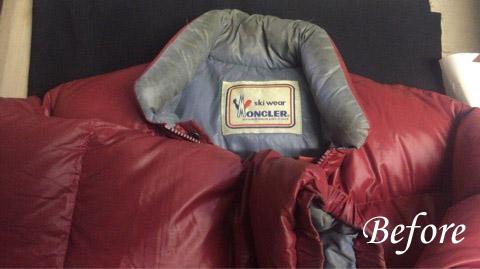 アシックス製モンクレールダウンジャケット 全体の汚れやシミ
