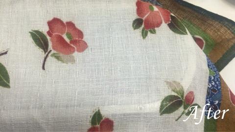 スカーフに付いた食べこぼしの古いシミ