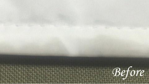 白いダウンのベンチコート 油のしみぬき