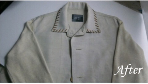 綿麻ジャケットの日焼けの復元加工