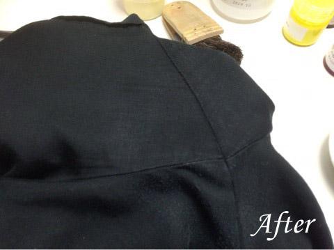 制汗剤によるレーヨンシャツ脇の部分の脱色修正