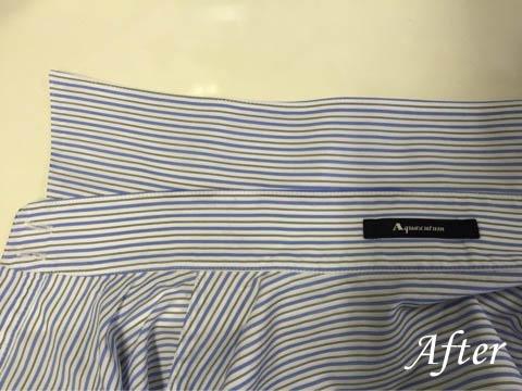 アクアスキュータムシャツの襟のシミ抜き(染み抜き)