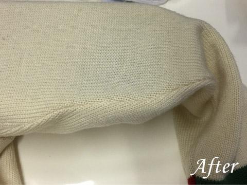 トレンドニットセーターのしみ抜き(染み抜き)