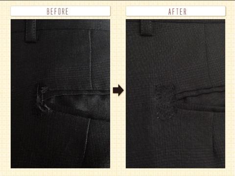 ズボン、後ろポケットの修理。