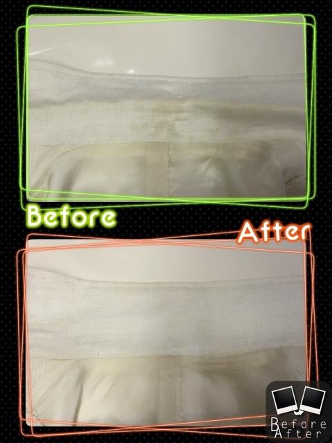 襦袢の襟をしみ抜き、復元加工しました!