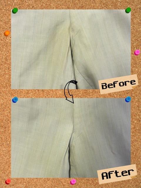 ズボン、パンツの変色のシミ抜き。オシッコのシミ抜き。