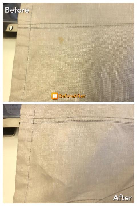 麻のジャケットに付いた、古いシミ抜き!色修復。