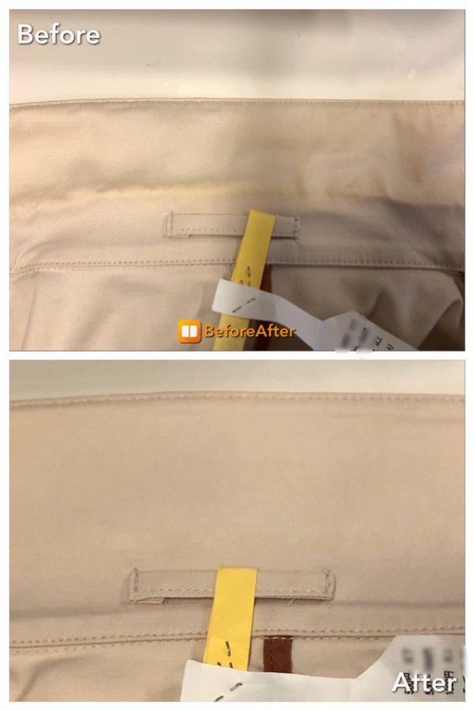 今回のシミ抜きは、 スプリングコートの襟の変色です。  ベージュのスプリングコートなので、 時間が経ったせいか、 襟の黄変が目立ちますねびっくり