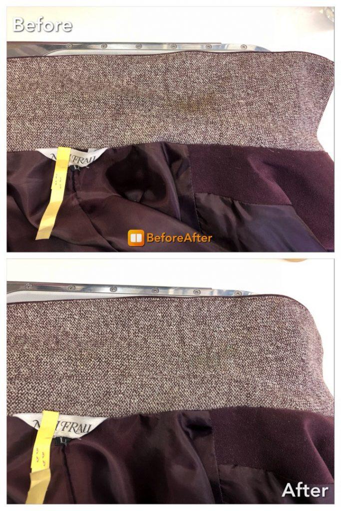ウールジャケットの襟の黄変、シミ抜き、復元加工
