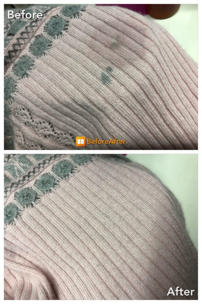 セーターに毛染めのシミ抜き、復元加工