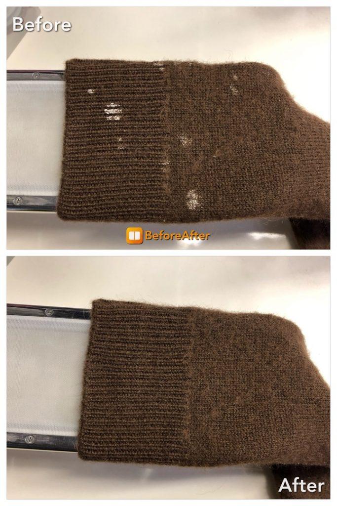 セーターに食べこぼしのシミ抜き