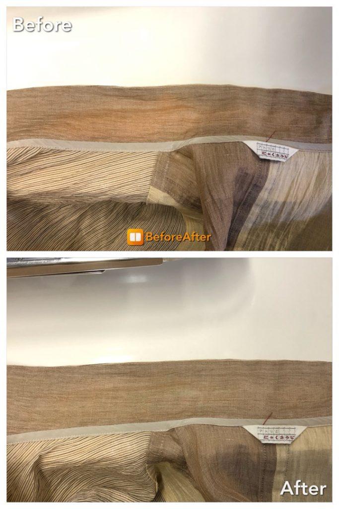 麻のオープンの襟のシミ抜き、色復元