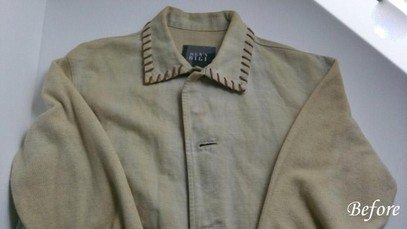 綿麻ジャケット 日焼けと古いシミ 復元加工