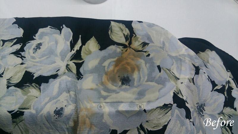 シルクスカーフについていた古いシミ