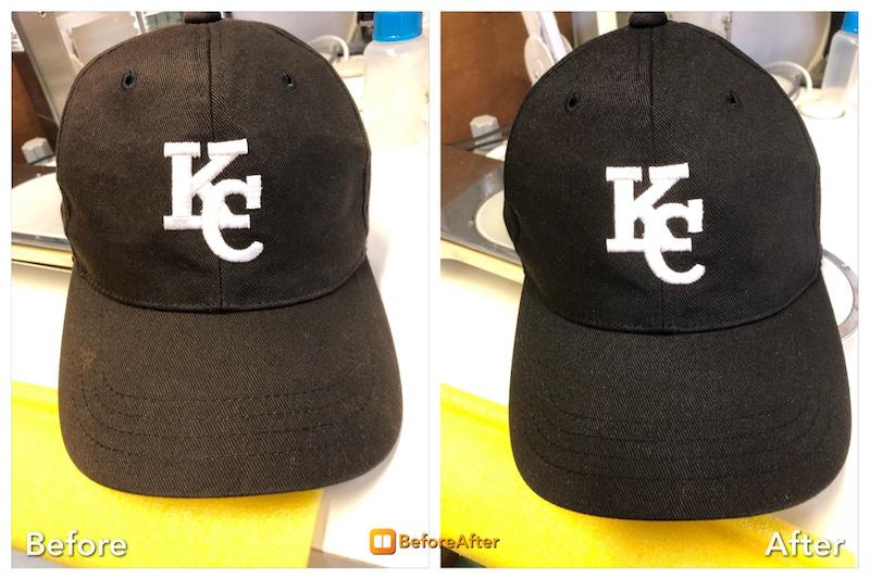 帽子の色焼け、色修復