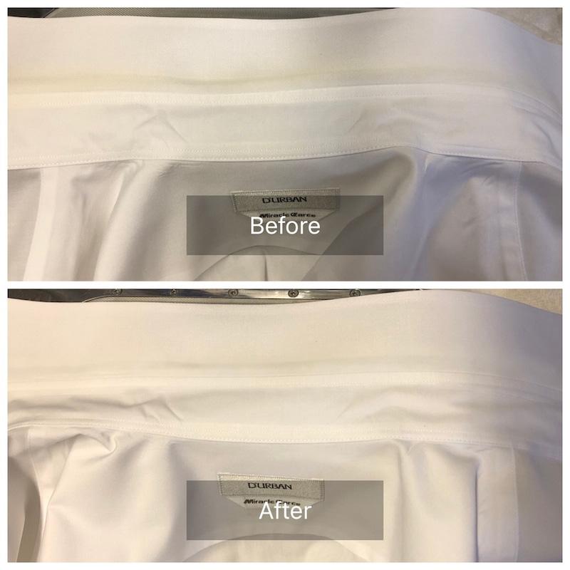 ダーバンのワイシャツの襟のシミ抜き、色復元加工