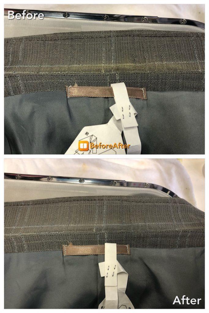 ジャケット、襟の黄変の復元加工