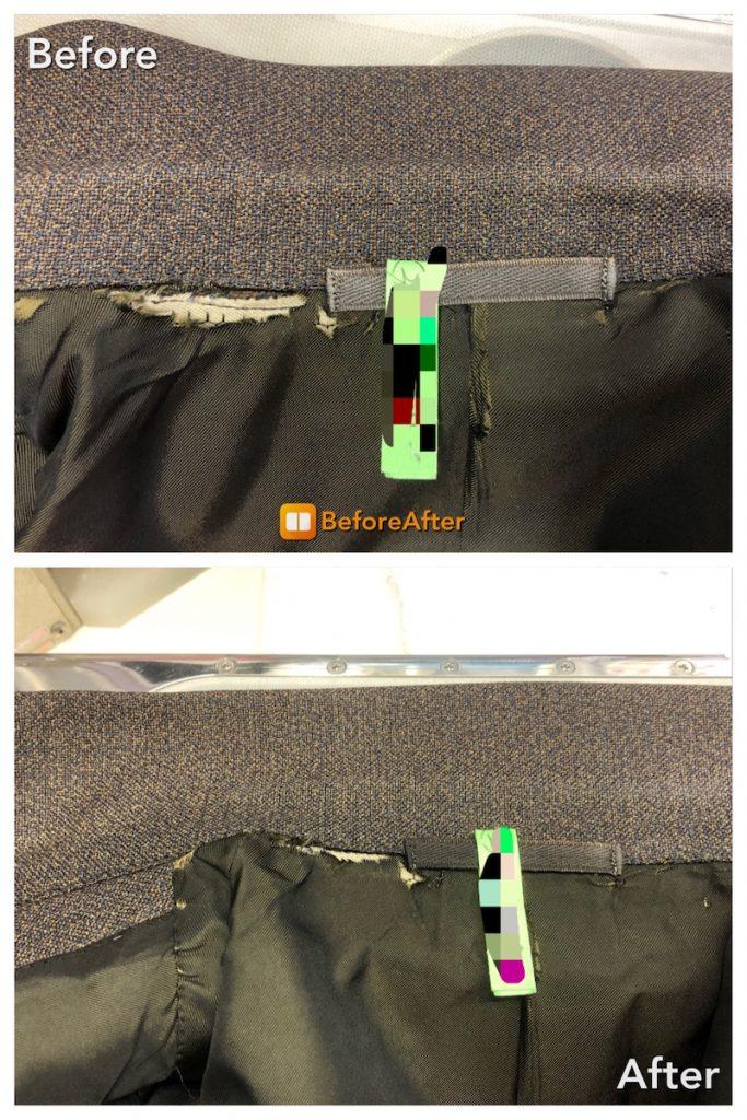 ジャケットの襟のシミ抜き、色修復加工