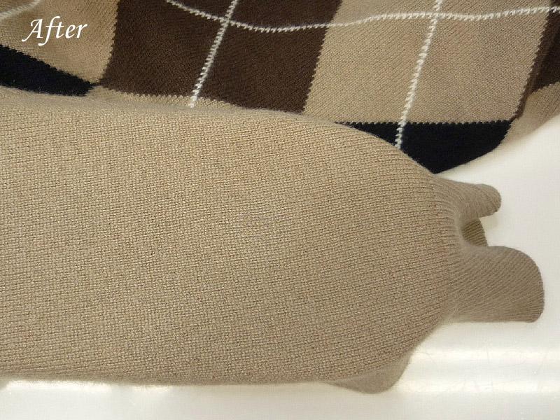 カシミアセーター変色の色修正